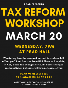 Tax Reform Workshop flyer